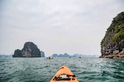 Kayaking Bai Tu Long bay in Halong Bay