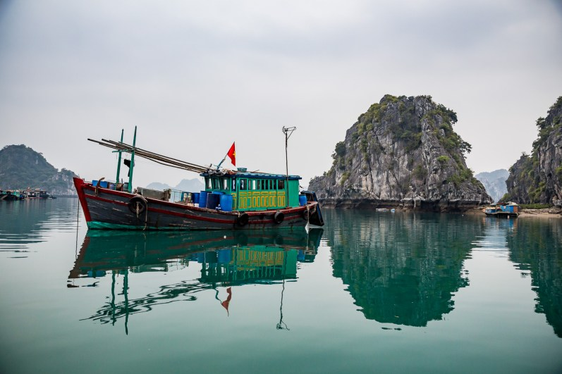 A fishermen boat in Bai Tu Long Halong Bay