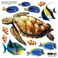 Sea Turtle and Reef Fish Wall Decal set - Bold Wall Art
