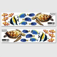 Sea Turtle & Tropical Fish Wall Decals - Small - Bold Wall Art