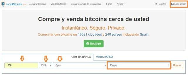 Cómo comprar bitcoins con PayPal en LocalBitcoins