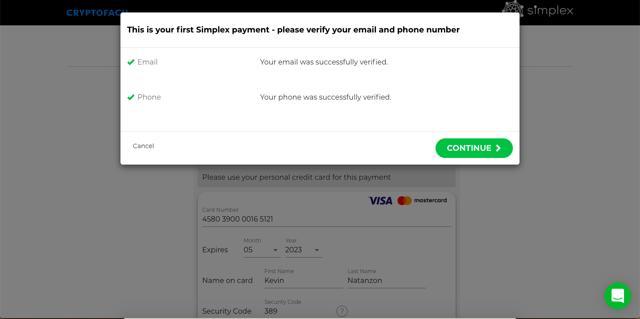 confirmar celular y email compra bitcoins con tarjeta de credito en cryptofacil