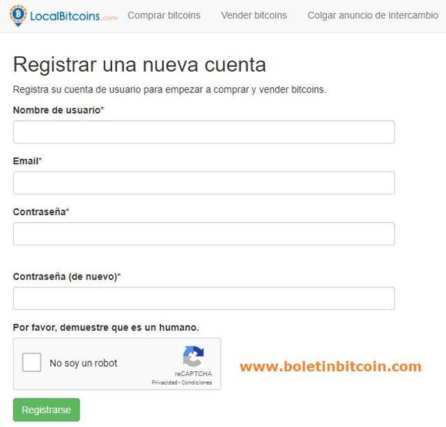 paso 2 abrir una cuenta localbitcoins
