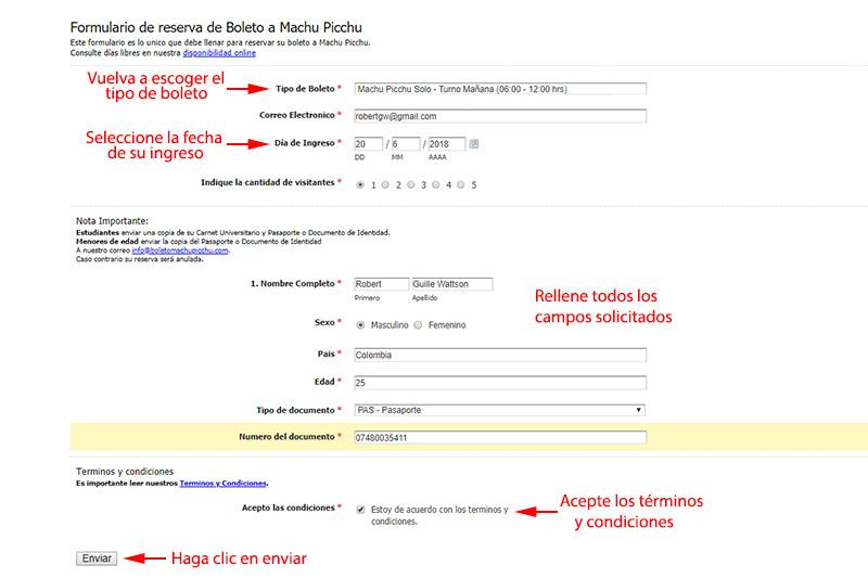 Formulario de reserva boleto Machu Picchu