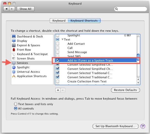 Enable text files for spoken voice in services