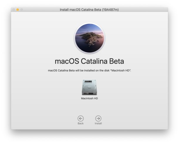 Select the disk where MacOS Catalina will be installed