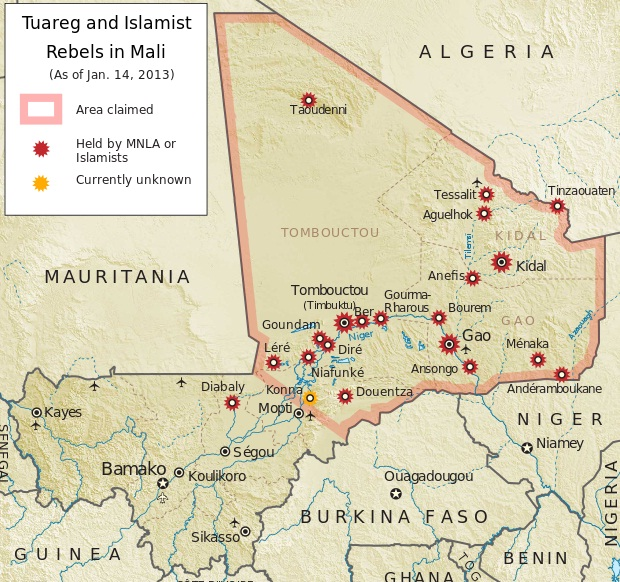 The Tuareg and Islamist rebels control the north while the military coup leaders control the south.  The gold mines that the French troops are protecting are in the south and west of Mali.