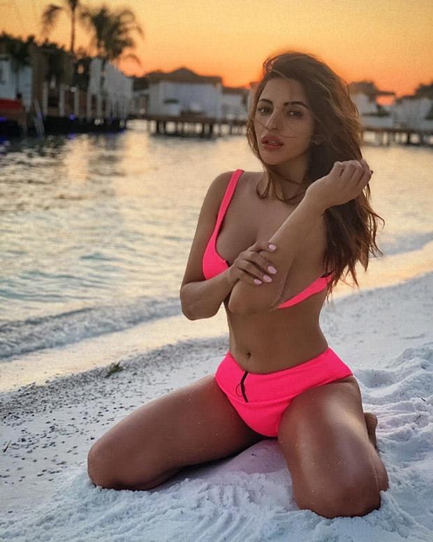 shama Sikander soaking up the sun and sand in a pink bikini - newsdezire