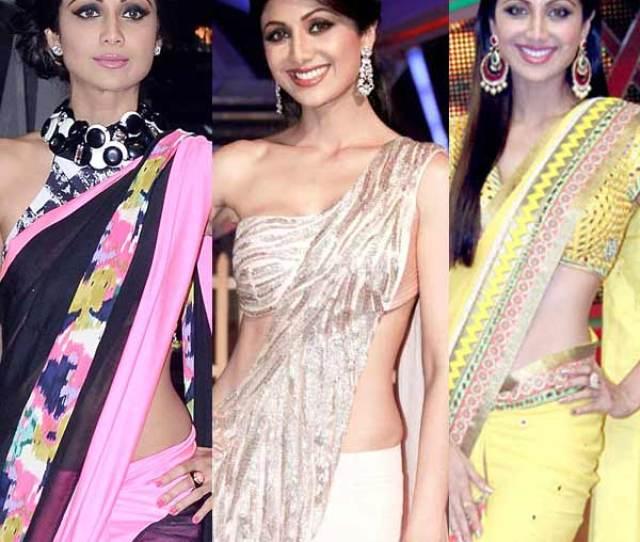 Shilpa Shetty Kundras Super Sexy Saree Style Statements Bollywoodlife Com