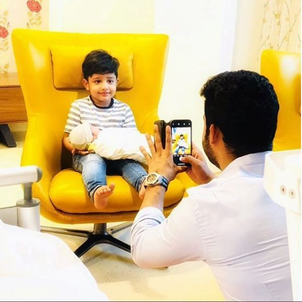 Junior NTR posts an adorable picture of his son Abhay Ram holding his infant brother
