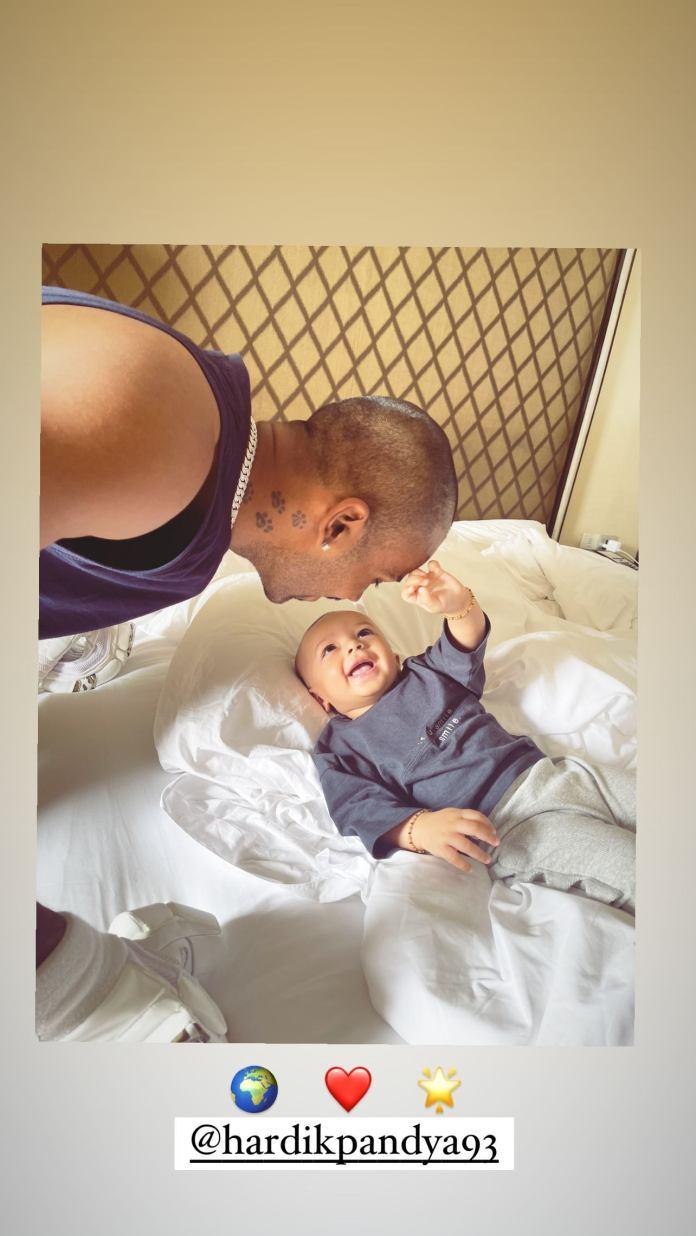 Hardik Pandya with his son