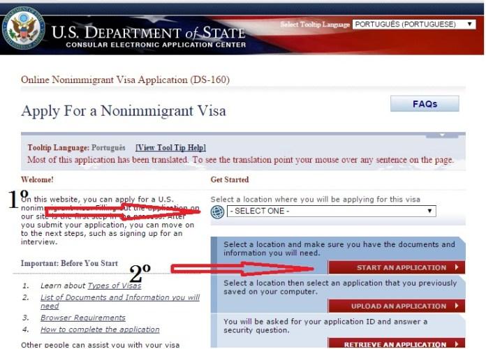 Formulário DS - 160. U.S Department of State