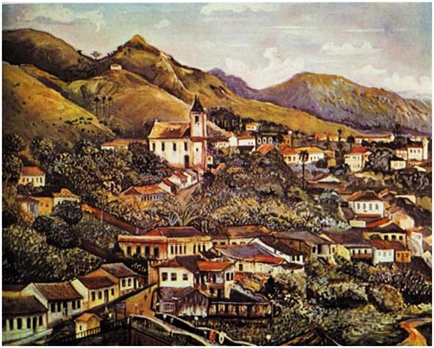 Pintura do século XIX mostra a cidade de Sabará
