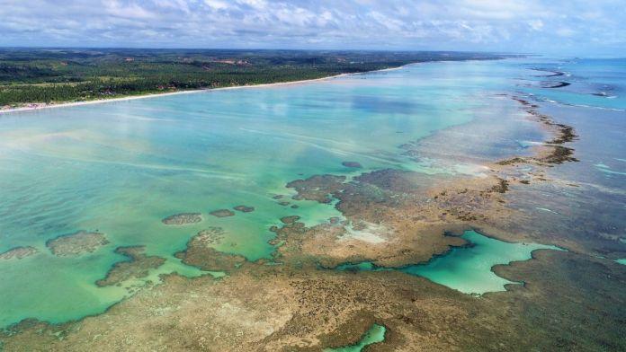 Vista aérea de piscinas naturais de Maragogi, Alagoas.