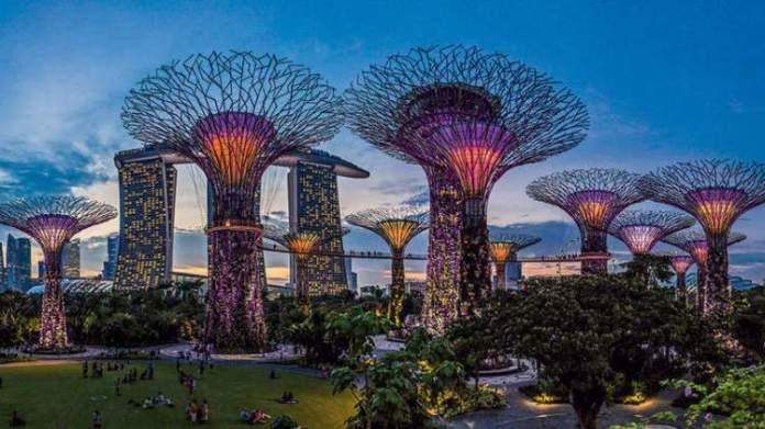 Os Jardins da Baía é um dos pontos turísticos de Singapura
