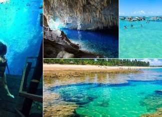 lugares com águas cristalinas no Brasil