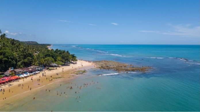Vista aérea da praia de Trancoso - Bahia