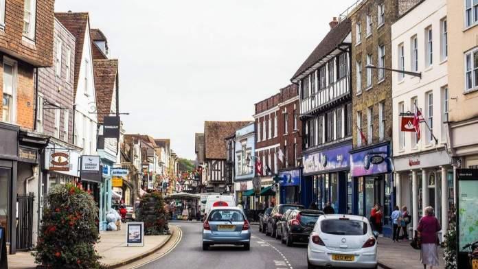 Vista da cidade de Salisbury, Inglaterra.