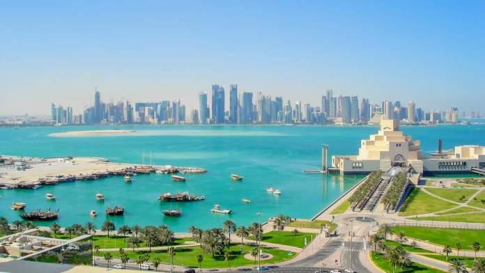 Vista do mar em Doha no Catar