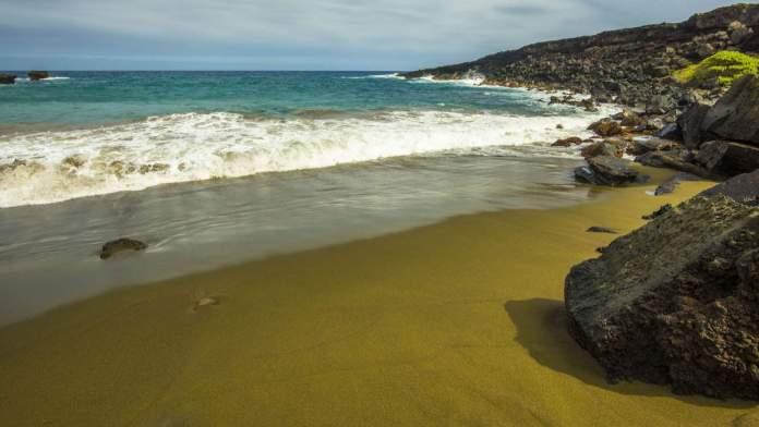 Green Sand Beach - Praia de areia verde em Big Island, Havaí