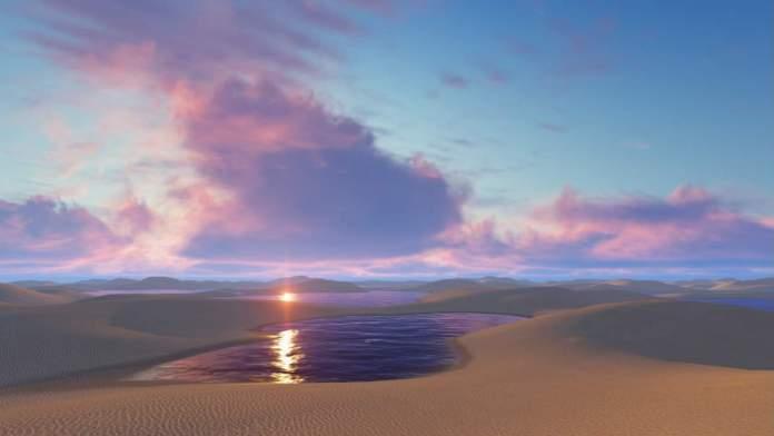 Pôr do sol no alto das dunas nos Lençóis Maranhenses