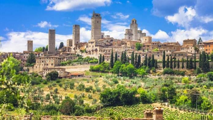 Paisagem medieval San Gimignano, Toscana, Itália.