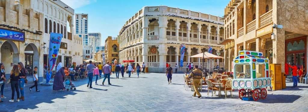 Área histórica restaurada em Doha no Catar