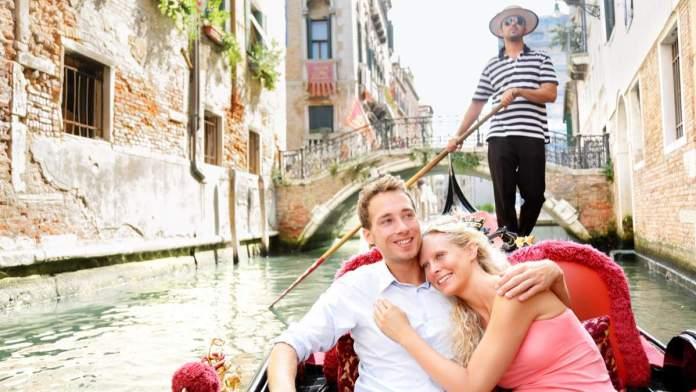 Viagem romântica em Veneza, Itália.