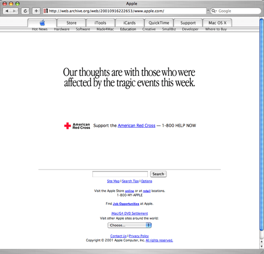 Apple.com 11 settembre 2001