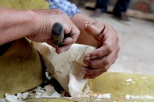 taller de máscaras Chané en la comunidad guaraní en El Espinal, Salta