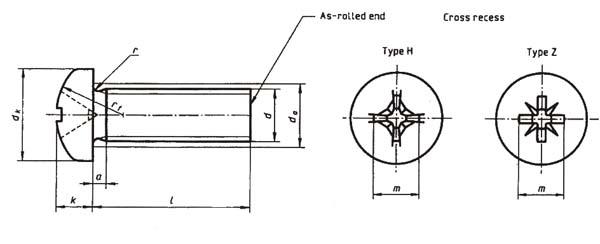 DIN 7985 Phillips Pan Head Machine Screws Dimension