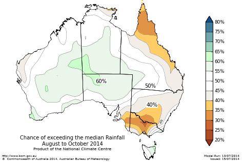 Probability of exceeding median rainfall - click on the map for a larger version