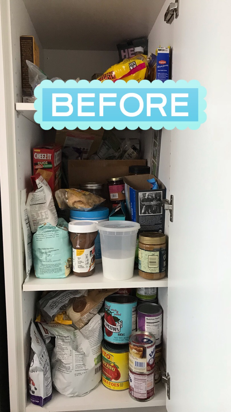 Decluttering the pantry, before photo