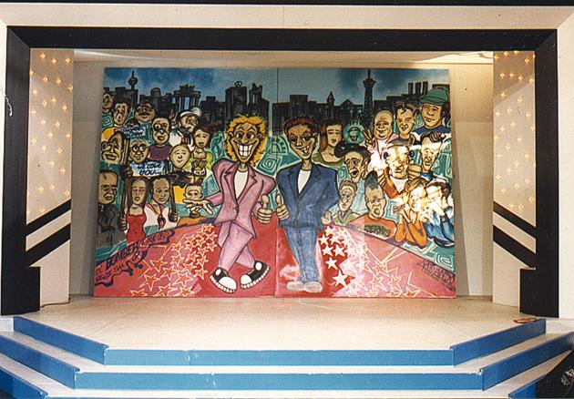 Günther Jauch & Thomas Gottschalk in front of a artwork Graffiti on canvas for the TV show »Die 2 im Zweiten« live at IFA Internationale Funkausstellung, Berlin 1991.