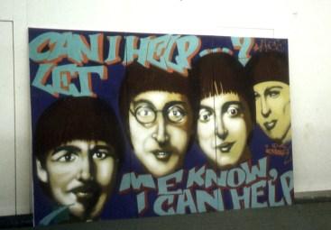Stellwand für Messe Menue Logis Help Counter Beatles, mit Fuego (Stylewriting Design), 1995