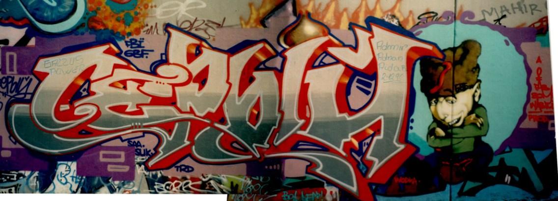Stylewriting Graffiti Art auf kyrillisch für das russischen Kanal MTV, 1995.