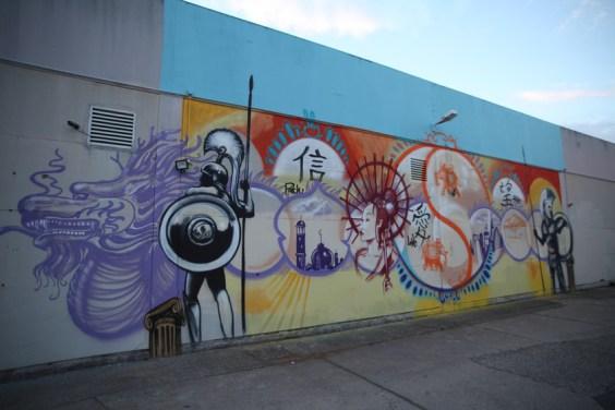 Freihand Artwork auf Fassade zum Thema Cultural Ressources, Heidelberg 2019
