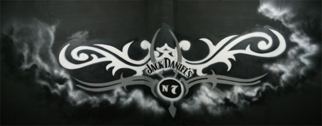 Jack Daniels No. 7 Graffiti Art on a ceiling in the height of 6 m, Karlsruhe 2007. Deckengraffiti in 6 m Höhe für Jack Daniels No. 7, Karlsruhe 2007.