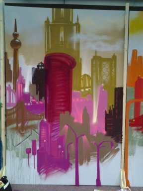 Skyline Artwork auf sechs Leinwandflächen, 2013. Skyline artwork on six canvas surfaces, 2013
