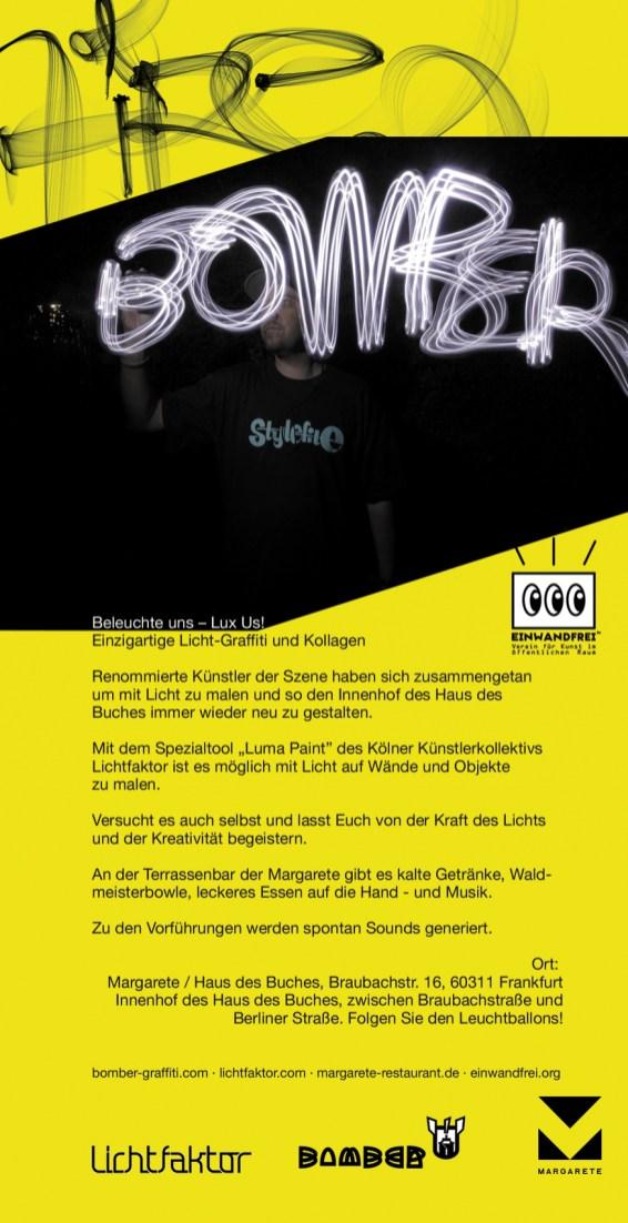 Handout, Flyer, Din Lang Luminale Lightpainting Bomber & Lichtfaktor, Haus des Buches Frankfurt, 2016