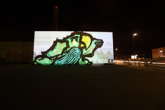 »Character« Bomber feat. Lichtfaktor, LumaPaint Station @ Heyne Fabrik, Luminale Offenbach 2012