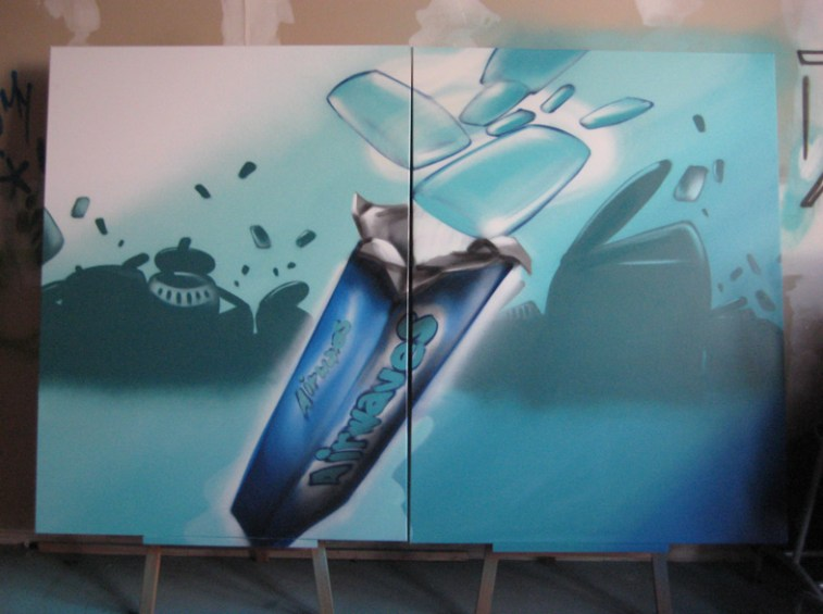 Wrigleys Airwaves, Spraycan on canvas, 2 x 100 x 120 cm, 2007