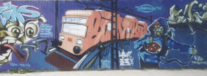 Bomber – Schriftzug, Neuss Hall of fame , GBF Character by Remco van de Craats/edhv.nl-Phenc Eindhoven 1997 spraycan on wall