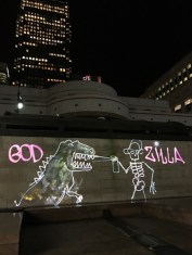 God Zilla Luma Paint Public Light Graffiti as Lightpainting, London Winter Lights, Canary Wharf, 2017