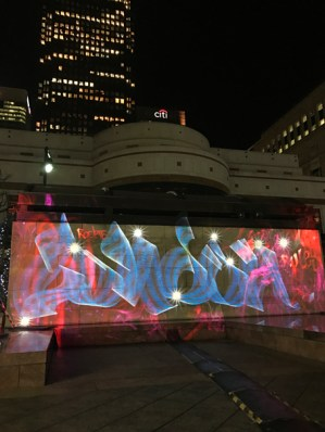 London style Luma Paint Public Light Graffiti as Lightpainting, London Winter Lights, Canary Wharf, 2017
