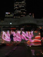 Canary Style Luma Paint Public Light Graffiti as Lightpainting, London Winter Lights, Canary Wharf, 2017