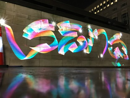 Sens Style @ Luma Paint Public Light Graffiti as Lightpainting, London Winter Lights, Canary Wharf, 2017