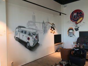 Graffiti als Innenwandgestaltungen Bäcker Lutz, Mayen.