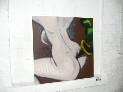 Serie Cars & Cash, Spraycan (acryl) on framed canvas, 80 x80 cm. 2006. © Helge Steinmann/Bomber-VG Bild Kunst. Bonn