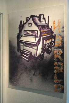 Canvas spraycan (acryl) on framed canvas-Live from TEDx adventure, 2015, 80 x 100 cm